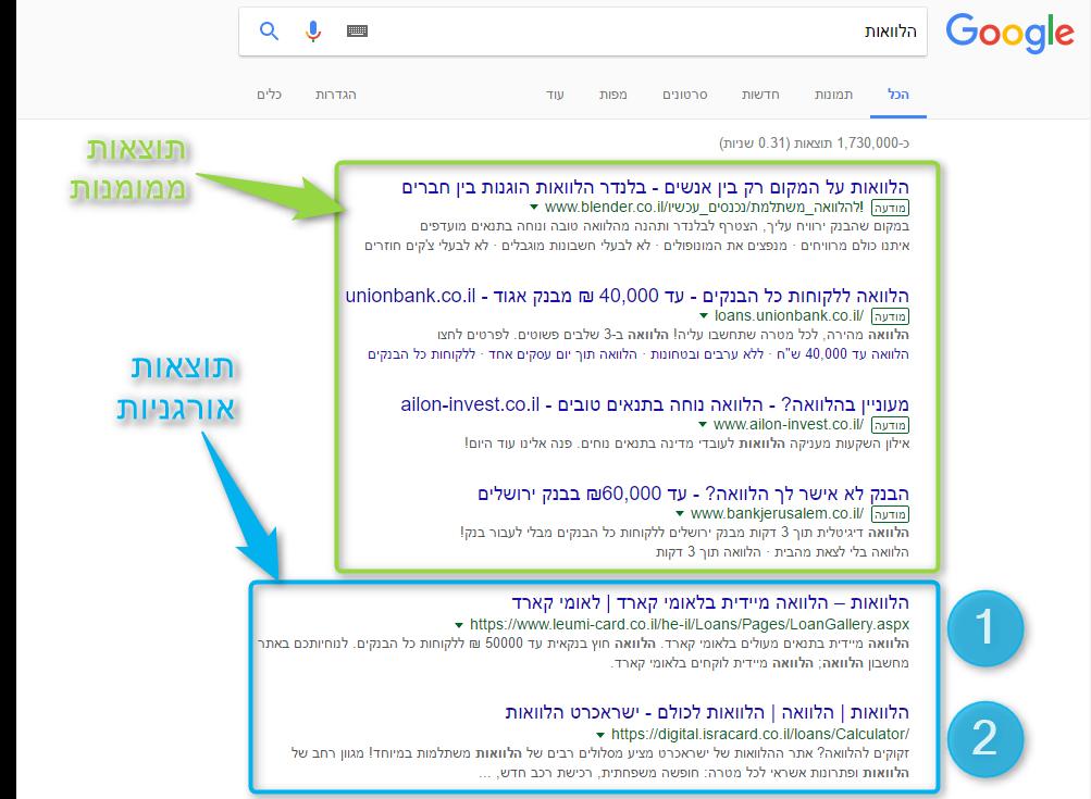 גוגל צילום מסך קידום אתרים אורגני