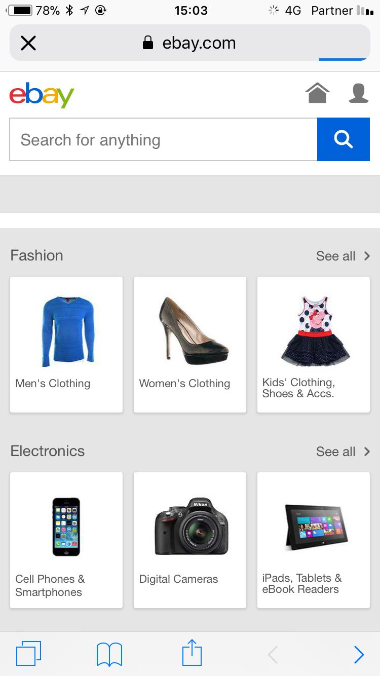 ebay שורת חיפוש התאמת אתר למובייל