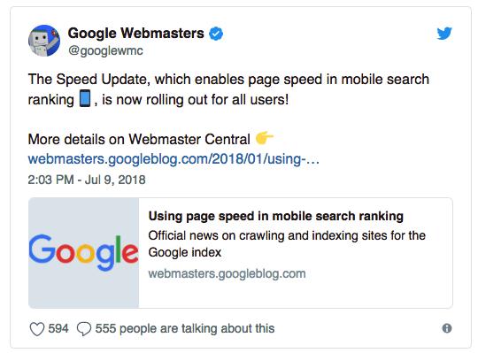 עדכון אלגוריתם גוגל זמני טעינה